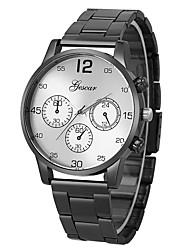 abordables -Homme Montre Bracelet Chinois Chronographe / Créatif / Grand Cadran Acier Inoxydable Bande Luxe Blanc / Argent
