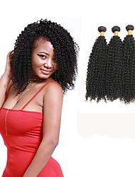Недорогие -3 Связки Бразильские волосы Кудрявый Натуральные волосы Накладки из натуральных волос Ткет человеческих волос Удлинитель / Горячая распродажа Естественный цвет Расширения человеческих волос Все