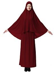 abordables -Femme simple Basique Kaftan Abaya Robe Couleur Pleine Midi