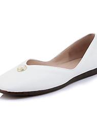 abordables -Femme Chaussures Similicuir Printemps / Automne Confort Ballerines Talon Plat Bout carré Imitation Perle Noir / Jaune / Rose