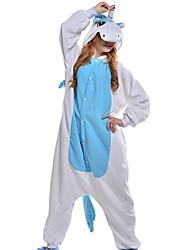 baratos -Adulto Pijamas Kigurumi Unicórnio Pijamas Macacão Ocasiões Especiais Velocino de Coral Azul Cosplay Para Pijamas Animais desenho animado Dia das Bruxas Festival / Celebração / Natal