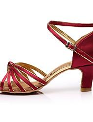 cheap -Women's Latin Shoes Satin Sandal / Heel Splicing Customized Heel Customizable Dance Shoes Dark Red / Indoor