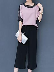 baratos -Mulheres Sofisticado / Moda de Rua Conjunto Sólido / Estampa Colorida Calça