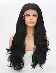 Недорогие -Синтетические кружевные передние парики Жен. Волнистый Черный Стрижка каскад Искусственные волосы Жаропрочная Черный Парик Длинные Лента спереди Черный