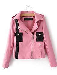 Недорогие -Жен. На выход Кожаные куртки Рубашечный воротник Уличный стиль - Разные цвета, Искусственная кожа Пэчворк / Осень