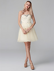 cheap -Ball Gown Sweetheart Neckline Short / Mini Chiffon / Beaded Lace Cocktail Party Dress with Crystals / Lace / Bandage by TS Couture®