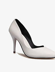 cheap -Women's Shoes Cowhide Spring Basic Pump Heels Stiletto Heel Pointed Toe for Outdoor White / Black