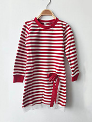 cheap -Girls' Daily Striped Patchwork Tee, Cotton Spring Fall Long Sleeves Stripes Bow Lace Black Red