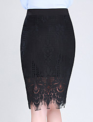 preiswerte -Damen Retro Baumwolle Bodycon Röcke - Solide Schwarz & Weiß, Gefaltet