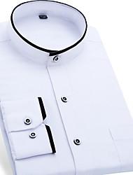 Недорогие -Муж. Офис Рубашка Хлопок Деловые / Классический Однотонный / Воротник-стойка / С короткими рукавами / Длинный рукав