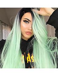 preiswerte -Synthetische Lace Front Perücken Glatt Mittelteil 150% Human Hair Dichte Synthetische Haare Damen / Synthetik / Modisch Grün Perücke Damen Lang Spitzenfront