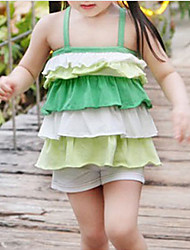 cheap -Toddler Girls' Solid Colored / Color Block Sleeveless Clothing Set