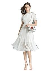 Недорогие -Жен. Шинуазери (китайский стиль) Оболочка Платье - Однотонный, Кружева Средней длины