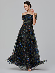 cheap -A-Line Off Shoulder Floor Length Organza Formal Evening Dress with Pattern / Print by TS Couture®