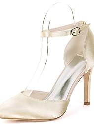 お買い得  -女性用 靴 サテン 春夏 ベーシックサンダル ウェディングシューズ スティレットヒール ポインテッドトゥ ベックル のために 結婚式 / パーティー レッド / ライトブラウン / クリスタル
