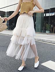 Недорогие -женская сторона midi линия юбки - сплошной цвет