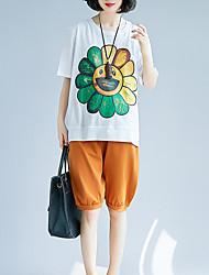 baratos -Mulheres Camiseta Vintage Franjas, Sólido Preto & Branco