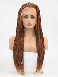 cheap -Synthetic Lace Front Wig Straight Braid Synthetic Hair Heat Resistant Brown Wig Women's Long Lace Front / Yes