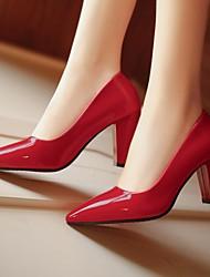 baratos -Mulheres Sapatos Couro Ecológico Outono Plataforma Básica Saltos Salto Robusto Dedo Apontado para Ao ar livre Cinzento / Vermelho / Rosa