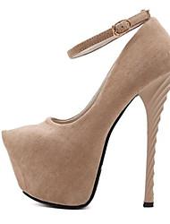 abordables -Mujer Zapatos Aterciopelado Verano Pump Básico Tacones Tacón Stiletto Punta abierta Negro / Almendra / Fiesta y Noche