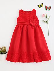 billige -Pigens Kjole Fødselsdag I-byen-tøj Ensfarvet, Bomuld Polyester Sommer Kortærmet Blonde Rød Rosa