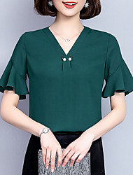 cheap -women's loose blouse - solid colored v neck