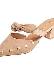 baratos -Mulheres Sapatos Couro Ecológico Primavera / Verão Conforto Tamancos e Mules Salto de bloco Dedo Apontado Laço Preto / Amarelo / Amêndoa