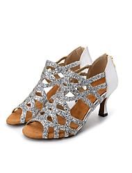 preiswerte -Damen Schuhe für den lateinamerikanischen Tanz Glitzer / Kunststoff Sandalen / Absätze Glitter Keilabsatz Maßfertigung Tanzschuhe Gold /