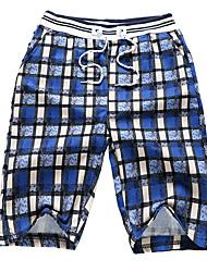 abordables -Hombre Básico Shorts Pantalones - A Cuadros