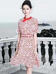 cheap -Blueskybutterfly Women's Basic / Sophisticated Butterfly Sleeves Swing Dress - Polka Dot