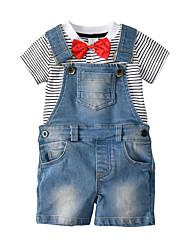 cheap -Toddler Unisex Striped Short Sleeve Clothing Set