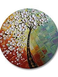cheap -STYLEDECOR Modern Hand Painted White Flower Tree with Round Frame Oil Painting on Canvas Wall Art