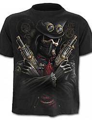 baratos -Homens Camiseta Caveira Exagerado Estampado, Estampa Colorida Retrato Caveiras