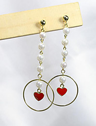 cheap -Women's Drop Earrings - Gold Plated, S925 Sterling Silver, Freshwater Pearl Heart Simple, Sweet, Fashion Red For Party / Date