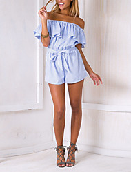 cheap -Women's Daily / Going out Romper - Striped Boat Neck / Summer