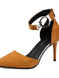 preiswerte -Damen Schuhe PU Frühling Sommer Pumps High Heels Stöckelabsatz Spitze Zehe Schnalle für Draussen Schwarz / Gelb / Rot