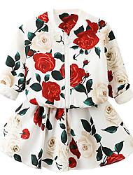 abordables -Enfants Fille Fleur Manches Longues Ensemble de Vêtements