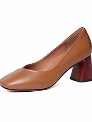 preiswerte -Damen Schuhe Nappaleder / Leder Frühling Pumps High Heels Blockabsatz Schwarz / Braun