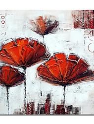 abordables -Pintura al óleo pintada a colgar Pintada a mano - Abstracto Floral / Botánico Contemporáneo Modern Lona