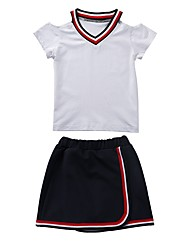 cheap -Kids Girls' Black & White Black & Red Solid Colored Short Sleeve Clothing Set
