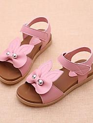 baratos -Para Meninas Sapatos Couro Ecológico Verão Conforto Sandálias Laço Velcro para Ao ar livre Branco Fúcsia Rosa claro