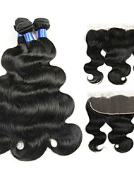 cheap -3 Bundles with Closure Brazilian Hair / Body Wave Wavy Human Hair Hair Weft with Closure Human Hair Weaves Cosplay / Soft / Hot Sale Natural Color Human Hair Extensions Women's