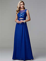 cheap -Sheath / Column Jewel Neck Floor Length Chiffon / Lace Prom / Formal Evening Dress with Appliques / Lace by TS Couture® / Beautiful Back