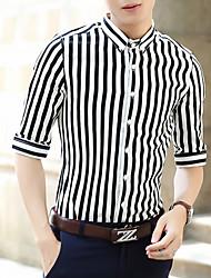 Недорогие -Муж. Рубашка Хлопок, Воротник с уголками на пуговицах (button-down) Полоски