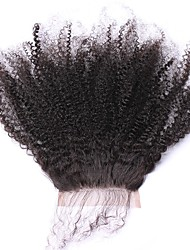 cheap -SunnyQueen Mongolian Hair 5x5 Closure Curly Free Part French Lace Remy Human Hair / Human Hair Women's With Baby Hair