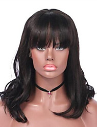 Недорогие -Remy Лента спереди Парик Бразильские волосы / Естественные волны Волнистый Парик 130% Жен. Средняя длина Парики из натуральных волос на кружевной основе