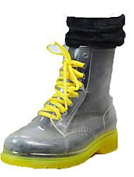 Недорогие -Жен. Обувь ПВХ Наступила зима Резиновые сапоги Ботинки На толстом каблуке Круглый носок Синий / Розовый / Прозрачный
