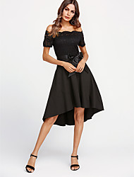 cheap -Women's Cotton Sheath Dress - Solid Color Lace Off Shoulder