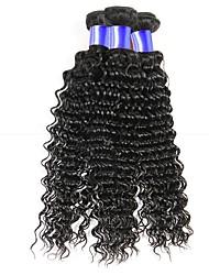 cheap -Peruvian Hair / Deep Wave Curly / Deep Wave Gifts / Natural Color Hair Weaves / Human Hair Extensions 3 Bundles Human Hair Weaves Soft / Best Quality / New Arrival Natural Black Human Hair Extensions