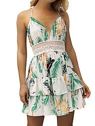 cheap -Women's Sophisticated / Boho Sheath Dress - Floral Cut Out / Layered / Ruffle